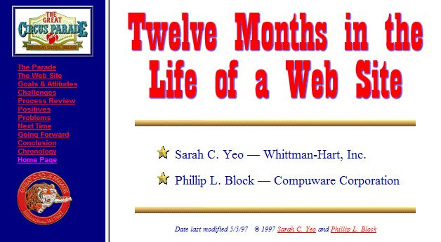 Twelve Months in the Life of a Web Site