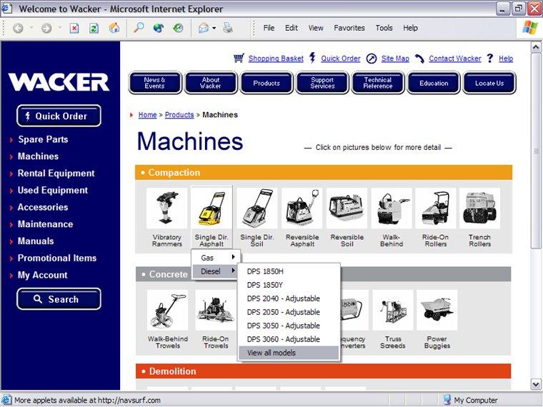 WACKER Machines Page