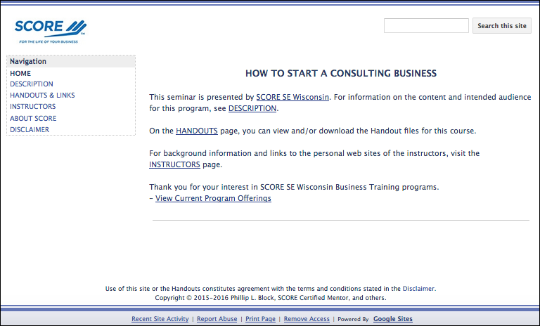 How to Start a Consulting Business Home Page