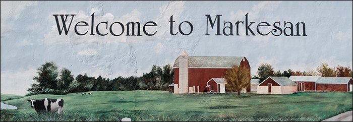 Welcome to Markesan - Banner on Building in Town