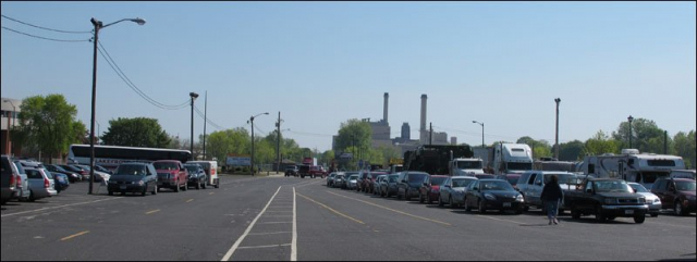 Vehicles staged for loading in Manitowoc