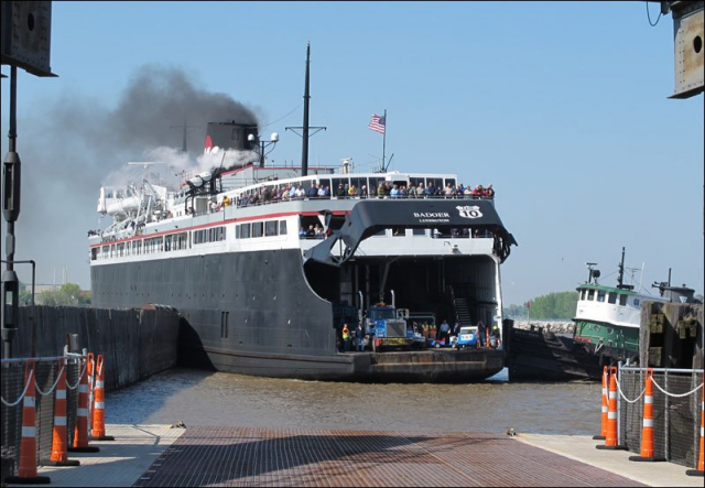 S.S. Badger being pushed to dock in Manitowoc