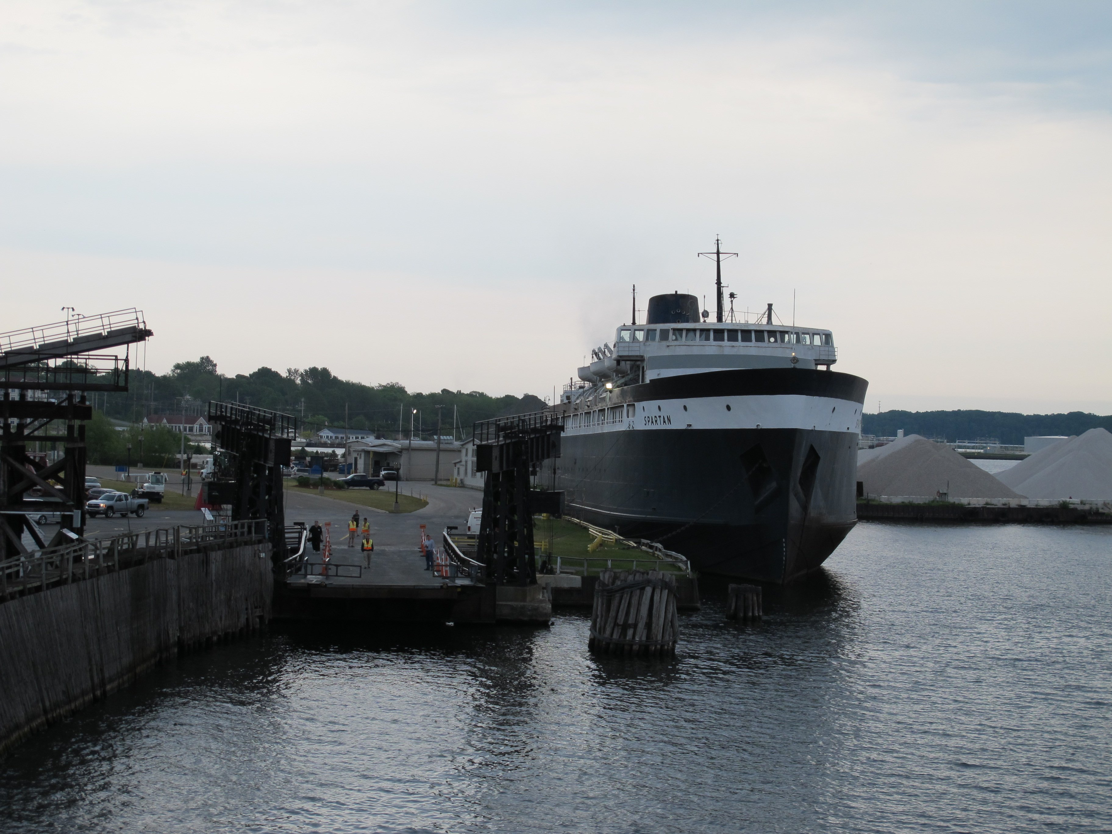 Ludington ferry dock; abandoned S.S. Spartan in background