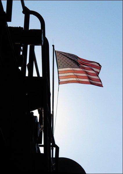 Backlit American flag on S.S. Badger