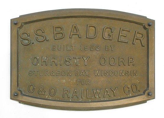 S.S. Badger identity plate