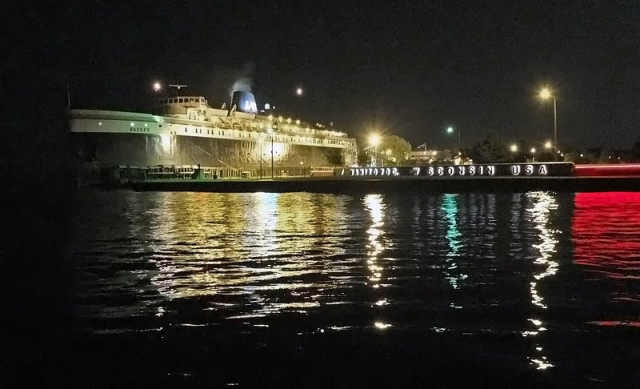 Badger Docked in Manitowoc After Midnight
