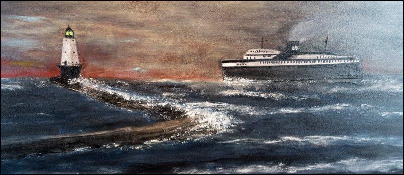 S.S. Badger Approaching Ludington Harbor
