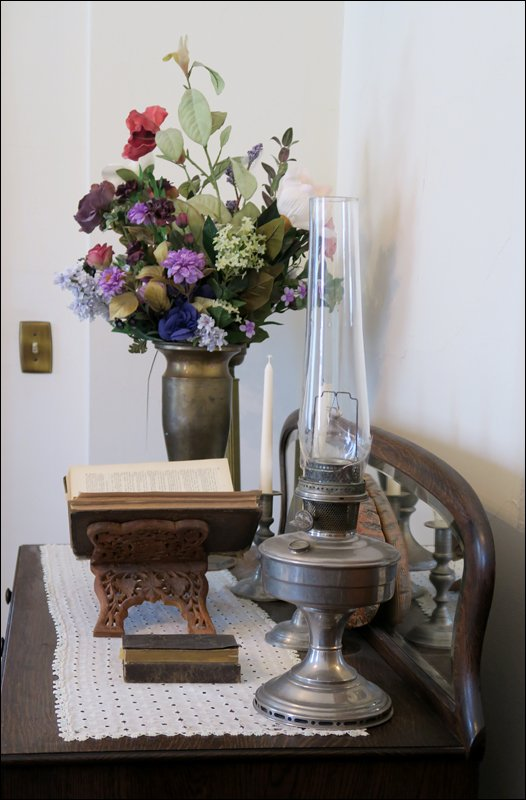 Lamp, Bible, and Flowers