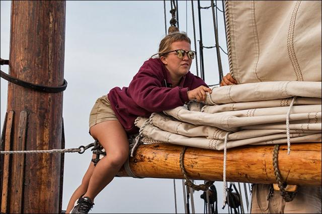 Reefing the Sails on the S/V Denis Sullivan