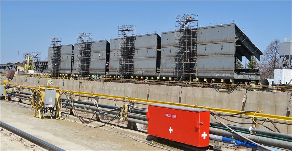 Sections of a bulk cargo barge awaiting assembly into the ship's hull