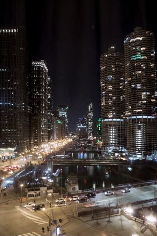 Chicago River Looking West - Night
